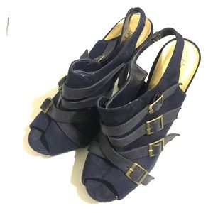 Strappy sling back peep toe heels